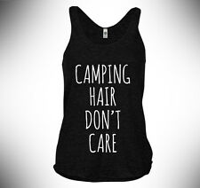 American Apparel Tri-Blend Racerback Tank, Camping Hair Don't Care