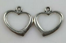 Wholesale 30/50pc 18x18mm Silver heart Charm Pendant jewelry finding
