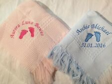 Personalised baby shawl with footprints name & date birth christening gift
