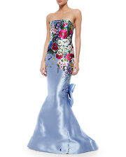 $7990 New Oscar de la Renta Pale Blue Mikado Flower Bouquet Print Silk Gown 8 10