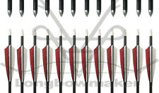 """Archery Traditional Hunting 31"""" Red&White Fletching Aluminum Arrow Field Tips"""