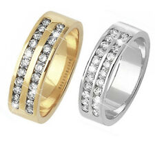9ct Wedding Ring Yellow Or White Gold Twin Row Diamond Set