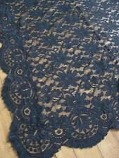 Lovely Antique Edwardian Black Lace Shawl- Pretty Floral Design