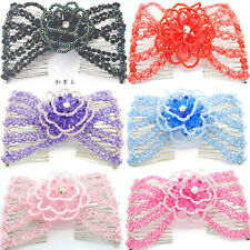 Fashion Women Easy Magic Beads Double Hair Comb Clip Stretchy Hair Combs Clips