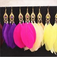 Fashion Boho Bohemia Colourful Feather Long Gold Eardrop Dangle Lady Earrings XW