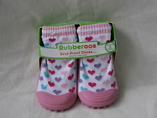 Rubberoos Skid Proof Shoes Pink Hearts  24 Months Size 8 New
