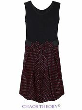 Girls Children Kids Polka Dot Dress Party Sleeveless Bow Tie Front Dress