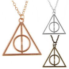 Harry Potter The Deathly Hallows Logo Pendant Necklace Symbol Triangle Chain