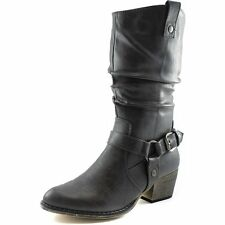 Solid Grey Boots New Women Ladies Western Cheap Cowboy Cowgirl Buckle Mid-Calf
