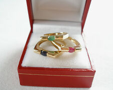 Ruby, Emerald, OR Sapphire Solitaire  10K Gold Ring