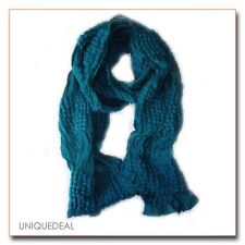 NEW ELEGENT STRETCH LIGHT CRINKLE BRAID LONG SCARF / Turquoise