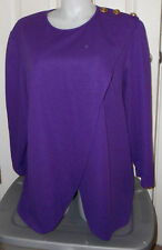 Roamans grape purple filigree button wrap front cutaway knit top 30W 4X