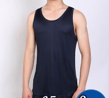 Men's Silk Knitted Tank Top Sleeveless Casual T Shirts Vests