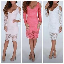 new womens ladies long sleeve cut out cold shoulder lace midi dress uk size 6-14