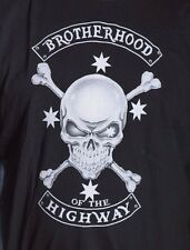 AUSSIE BIKER T SHIRT BROTHERHOOD OF THE HIGHWAY LONG SLEEVES SKULL & CROSSBONES