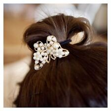 Beautiful Imitation Pearl Hollow-out Golden Butterfly Hair Wire Rope Fashion J45