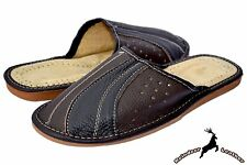 Mens Brown Genuine Cowhide Leather Handmade Traditional House Slippers Sandals