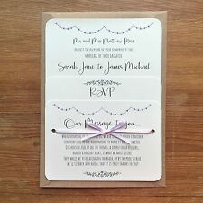 Personalised Wedding Invite Vintage Purple Lilac Day/Evening/RSVP/Menu Ivory