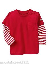 BABY GAP Boys Shirt Size 0 3 months Layered Striped Sleeve Top Cotton Red NEW