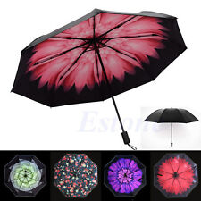 Women Folding Umbrella Daisy Flower Anti-UV Parasol Sun Rain Windproof Sunscreen