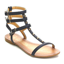 Beston AB78 Women's Ankle Strap Flat Heel Studded Gladiator Sandals