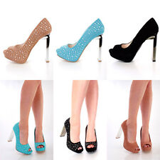 New Lot Rhinestone Peep Toe Pump Mirrored High Heels Faux Suede Sexy PLATFORM