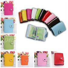 PU Leather Pocket Business ID Credit Card Holder Case Purse Wallet 12/24 Cards