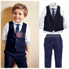 4pcs Kids Baby Boys Gentleman Waistcoat+Tie+Shirt+Trousers Outfits Clothing Set