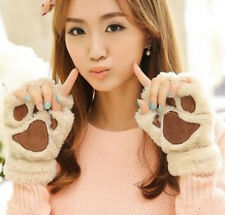 NEW BRAND Winter Women Paw Gloves Fingerless Fluffy Bear Cat Plush Paw JB