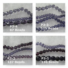 Glass Beads Purple Faceted Oval Round Rondelle
