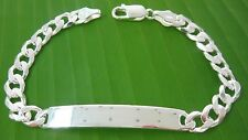 """MADE IN ITALY925 Sterling Silver ID engravable 7mm wideCURB bracelet7""""7.5"""" 8"""" 9"""""""
