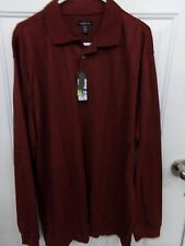Mens Big & Tall VanHeusen Red Rosewood Long Sleeve Polo Shirt NEW MSRP $60
