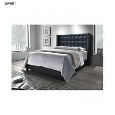 Upholstered Wingback Bed Black Button Tufted Leather Queen King Size Headboard