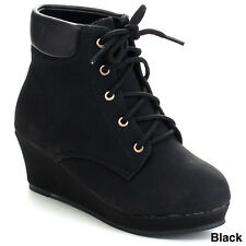 QQ GIRLS SNOWBALL-52 Girl's Platform Lace Up Comfort Wedge Dress Ankle Booties