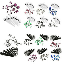 10x Unisex Acrylic Ear Expander Stretch and 9 pair Gauge Tunnel Kit (Pick Color)