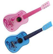 Childrens Kids Pink Blue Wooden Guitar Acoustic Classic Musical Instrument Toy
