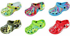 New Childrens Tie Dye Garden Shoes Clogs Sandals Available In 6 Colors