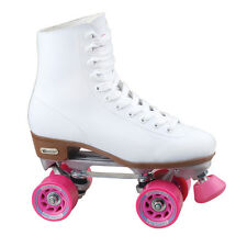 Women Roller Skates Boots White Leather 66mm Pink Wheels Sport Outdoor