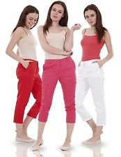 Ladies Cropped Trousers Summer 3/4 Lengths Capri Stretch Cotton Pants