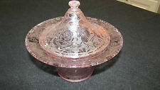 VINTAGE FLORAL ETCHED PINK DEPRESSION GLASS CANDY DISH WITH LID