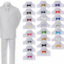 6pc Boys Toddler Kids Formal Wedding White Tuxedo Suits Vest Sets Bow Tie sz S-7