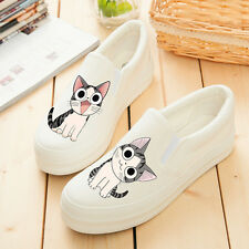 White Women's Hand-painted Cute Sweet Cartoon Cats Kittens Slip-on Canvas Shoes