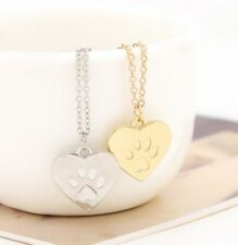 Dog Paw Print Love Gold & Silver Tone Loving Heart Fashion Pendant Necklace Gift