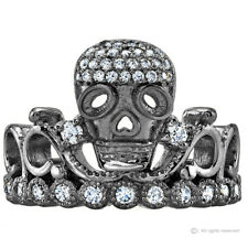 Sterling Silver CZ Skull Crown Ring (Black Rhodium Plated)