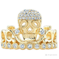 Sterling Silver CZ Skull Crown Ring (Yellow Gold Plated)