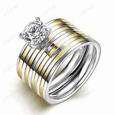 Women 18KGP Titanium Stainless Steel CZ Gold/Silver Stripe Wedding Ring Set