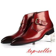 2 Color US Size 5-9.5 Mens Leather Formal Dress Loafer Ankle Boots Fashion Shoes