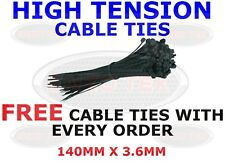 STRONG BLACK CABLE TIES TIE WRAPS ZIP TIES TIDIES 140mm x 3.6mm HIGH QUALITY