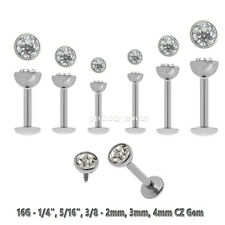 "1pc 16g~1/4""-  3/8"" 2-3-4mm C.Z. Internally Threaded Labret Ear Tragus Cartilage"