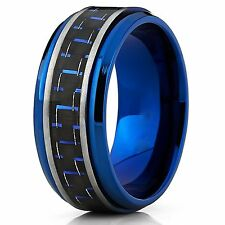 Men's Brushed Blue Titanium Wedding Bands Ring With Black and Blue Carbon 9mm